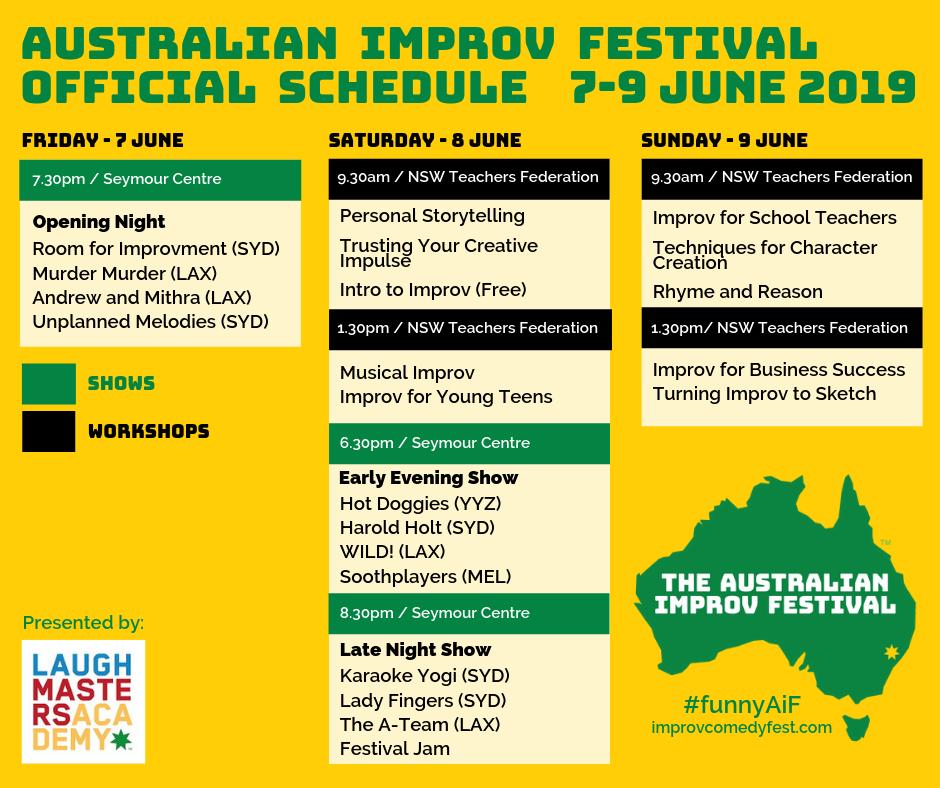 Australian Improv Festival Schedule